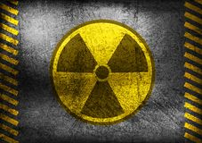 Grunge nuclear radiation symbol. Nuclear radiation symbol on grunge wall. Vector background Royalty Free Stock Image