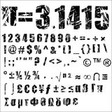 Grunge number and symbol - 2. A set of personalised grunge numbers and symbols to use. vectors, isolated on white. Completed with another alphabets set Stock Photography