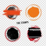 Grunge Off Road Tire Stamps. Grunge off-road post and quality stamps. Automotive elements useful for banner, sign, logo, icon, label and badge design . Tire Royalty Free Stock Photography