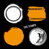 Grunge Off Road Tire Stamp. Grunge off-road post and quality stamps. Automotive elements useful for banner, sign, logo, icon, label and badge design . Tire Royalty Free Stock Image