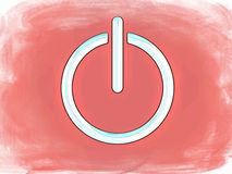 Grunge on-off  switch symbol. Illustration of on-off switch symbol in white but with a  grunge pink background Stock Photography