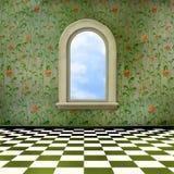 grunge okno wewnętrzny stary izbowy ilustracji