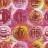 Grunge okrążający i paskujący kolorowy bezszwowy wzór Zdjęcia Stock