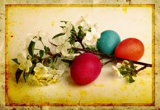 Grunge old carved postcard with eggs Royalty Free Stock Images
