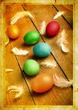 Grunge old carved postcard with eggs to celebrate Easter Stock Image