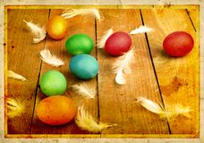 Grunge old carved postcard with eggs to celebrate Easter Stock Photo