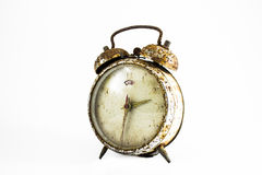 Grunge old alarm clock in isolate background decoration Royalty Free Stock Photos