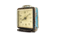 Grunge old alarm clock in isolate background decoration design Royalty Free Stock Photography