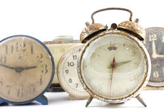 Grunge old alarm clock in isolate background decoration Royalty Free Stock Image