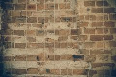 Grunge and old Construct wall with cement and brick stock images