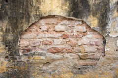 Grunge old cracked yellow wall show bricks texture Stock Photography