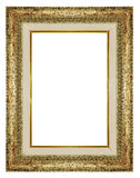Grunge old golden wooden frame isolated Stock Image