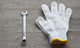 Grunge old home tools wrench on wood floor Stock Image