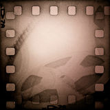Grunge old motion picture reel with film strip Stock Photos