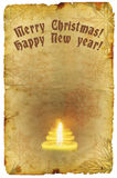 Grunge old paper with Christmas and New Year greeting Stock Image