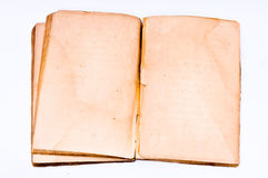 Grunge old paper texture. Empty open old book on a white background Stock Photos