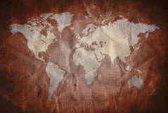Grunge old paper with world map Royalty Free Stock Photo