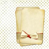 Grunge old papers with bow for design Royalty Free Stock Image