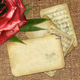 Grunge old papers for design with red rose Royalty Free Stock Photos