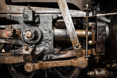 Grunge old steam locomotive wheels close up Royalty Free Stock Photo
