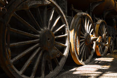Grunge old steam locomotive wheels Royalty Free Stock Image