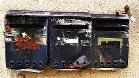 Grunge old vintage mailboxes Royalty Free Stock Images
