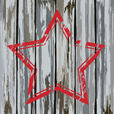 Grunge old wooden fence star frame. Vector Royalty Free Stock Images