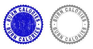 Grunge oparzenie znaczka kalorie Textured foki ilustracja wektor