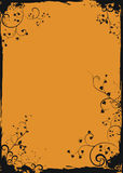 Grunge orange floral frame Stock Image