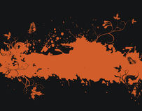 Grunge orange frame with floral elements Stock Photography