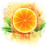 Grunge orange half Stock Photography
