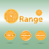Grunge orange text and badge icon with shadow Royalty Free Stock Image