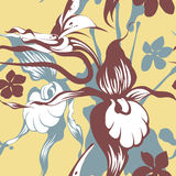 Grunge orchids seamless pattern Royalty Free Stock Images