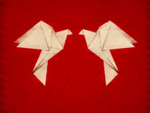 Grunge origami pigeons Stock Images
