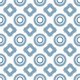 Grunge ornament painted with a rough brush. Seamless pattern with rhombuses and circles. Blue colour. Vector illustration Stock Image