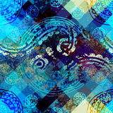 Grunge ornament pattern on pixel background. Royalty Free Stock Photo