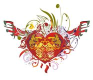 Grunge ornate red heart with wings. Huge red heart with jaguars and linear eagle splashes inside against the background of the twirled floral splashes and red vector illustration