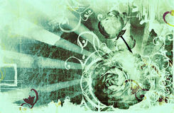Grunge page with stains, rays and flowers. Grunge page design with lots of design elements, faded border, wet stains, abstract rays and flowers image Stock Photography