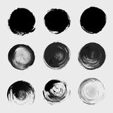 Grunge paint circle vector element set Stock Photo