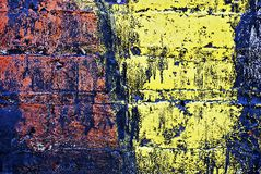 Grunge Painted Brick Wall Royalty Free Stock Photos
