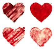 Grunge painted heart shapes set Stock Photo
