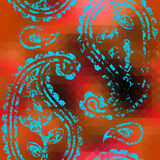 Grunge paisley on orange pixels backgrpund Stock Photography