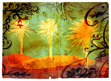 Grunge palms page with swirls. Grunge page with palms on the beach illustration, swirls and scrolls border. Clipping path for edge is incl Royalty Free Stock Image