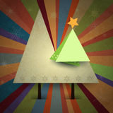 Grunge paper background for Greeting Card-Retro style. Merry Christmas design- Paper Christmas pine tree with space for text.Vintage Christmas Greeting Card Royalty Free Stock Photography