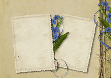Grunge paper background with old card and flowers Royalty Free Stock Photography