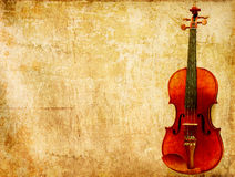 Grunge paper background of vintage violin Stock Photo