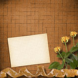 Grunge paper with beautiful roses Stock Photos