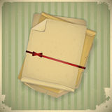 Grunge paper with bow  on vintage background. Illustration Stock Photography