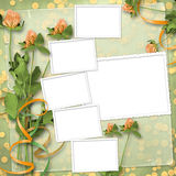 Grunge paper with bunch of clover Stock Images