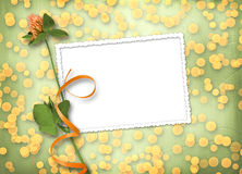 Grunge paper with bunch of clover Stock Photo